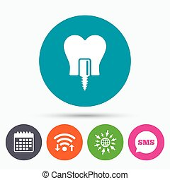 Tooth implant sign icon Dental care symbol - Wifi, Sms and...