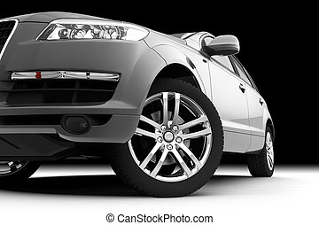 Car front bumper, light and wheel on black - Dynamic view of...