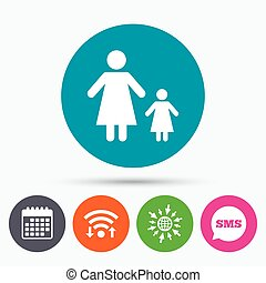 One-parent family with one child sign icon. - Wifi, Sms and...