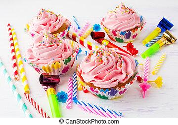 Cor-de-rosa, Partido, conceito,  Cupcakes, aniversário