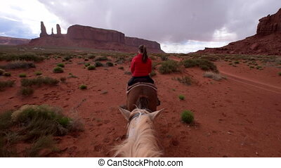 Monument Valley Horseback Riding First person view from the...