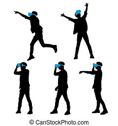 man using VR headset - Silhouette of happy man getting...