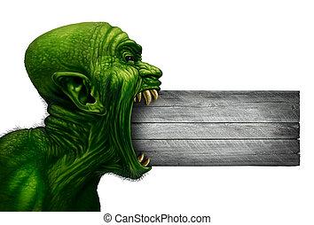 Zombie Head Blank Sign - Zombie head blank sign and monster...