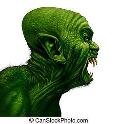 Monster Side View - Monster head side view as a zombie face...