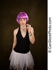 Woman with Purple Hair and Cigar - Portrait of woman with...
