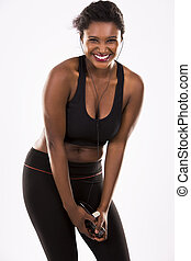 young fitnessl woman - young black woman wearing fitness...