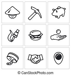 Vector Set of Cheap Labor Icons Worker, Tool, Economy,...