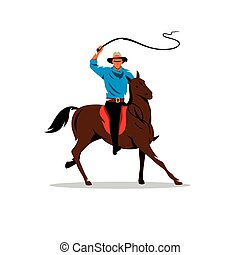 Vector Cowboy and Horse Cartoon Illustration.