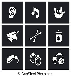 Vector Set of Deafness Icons Ear, sound, sign language,...