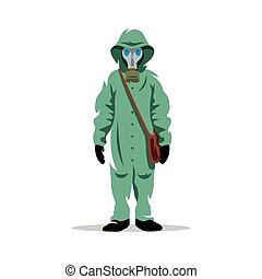 Vector Bio hazard protection Cartoon Illustration. - Man in...