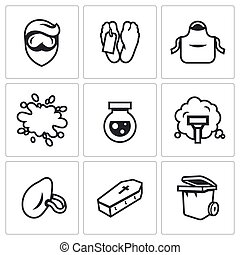 Vector Set of Cleaning after the murder Icons - Service to...