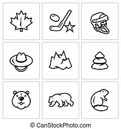 Vector Set of Canada Icons. Maple Leaf, Hockey, Helmet, Scout, Mountain, Forest, Beaver, Polar Bear.