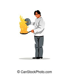 Vector Cook Cartoon Illustration. - A man with a burning...
