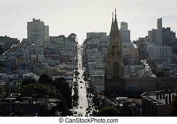 View of Saints Peter and Paul Church and Filbert Street in San Francisco, California.