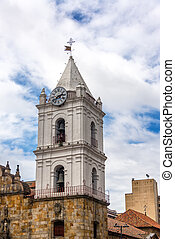 San Francisco Church in Bogota - Vertical view of the spire...