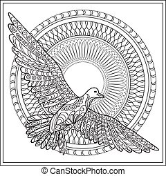 isolated gaviota with mandala - Hand drawn decorated...