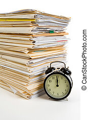 File Stack and clock with white background