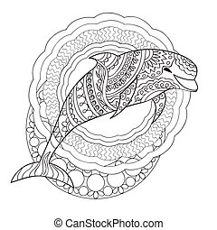 Dolphin and mandalas - Hand drawn decorated isolated dolphin...