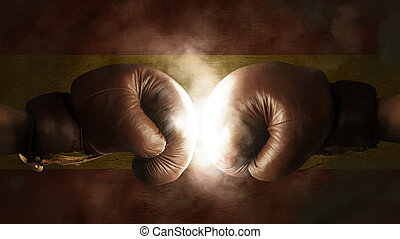 Boxing Gloves with the Flag of Spain