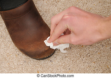Cleaning Leather Shoes with Cloth - A hand cleans a brown...