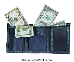 Wallet with Lots of Money - Blue wallet with lots of money...
