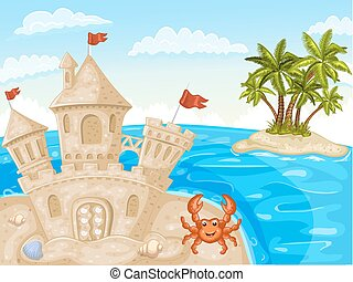 Illustration of sand castle - Illustration of crab and sand...