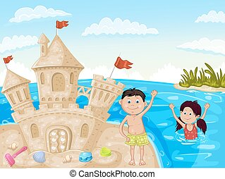 Illustration of sand castle and children on sea beach