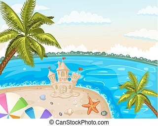 Illustration of sand castle - Illustration of a beach with...