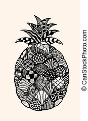 fruit with abstract pattern - Ananas exotic fruit with...