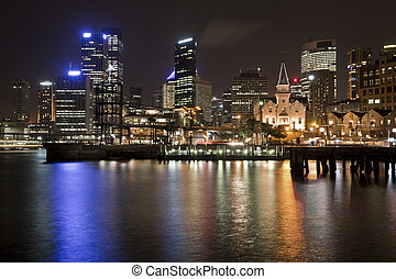 Sydney CBD at night from Circular Keys