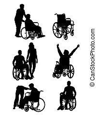 Handicapped and wheelchair Silhouettes, art vector design