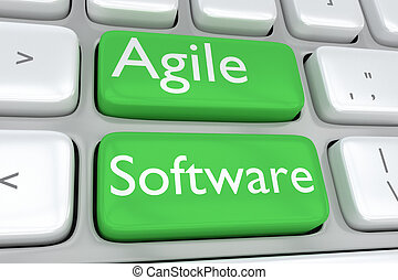 Agile Software concept - 3D illustration of computer...