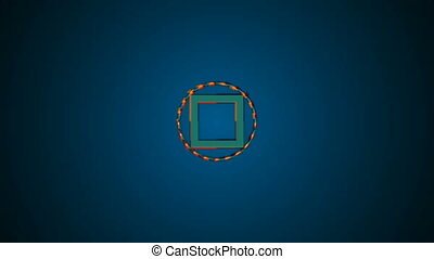 Motion background with animated squares and circles....