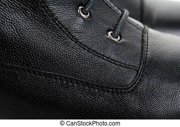 Black Leather shoes close up