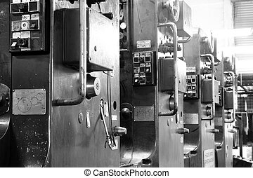 Printing machine - An old offset printing machine in black...