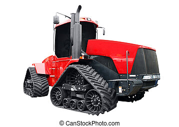 big red caterpillar tractor isolated