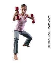 Teenage sportive girl is doing exercises with dumbbells to develop muscles on white background. Sport healthy lifestyle concept. Sporty childhood. Teenager exercising with weights.