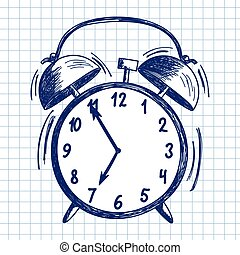 Alarm clock Doodle sketch on checkered paper background...