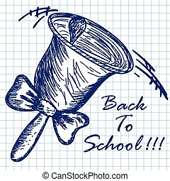 School hand bell Doodle sketch on checkered paper background...