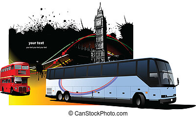 Grunge London images with buses image Vector illustration