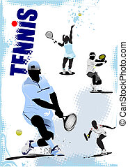 Tennis player poster. Colored Vector illustration for...