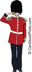 Vector image of five beefeaters England guards