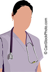 Medical doctor with stethoscope. V