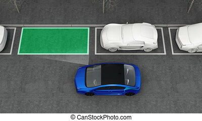Electric car parking in street - Blue electric car driving...