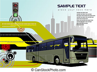Abstract hi-tech background with bus image. Vector