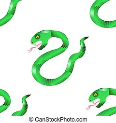 Green Snake Seamless Background. Animal Pattern. Attack...
