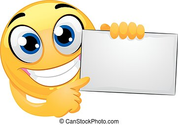 Smiley Emoticon Holding Blank Board
