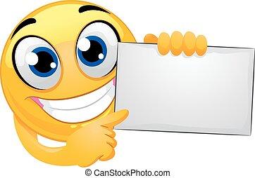 Smiley Emoticon Holding Blank Board