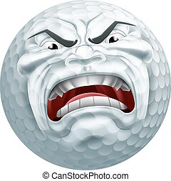 Angry Golf Ball Sports Cartoon Mascot - An angry mean...