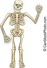 Cartoon Halloween Skeleton Waving - Friendly cartoon...